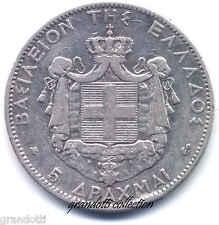 GRECIA 5 DRACME 1876 RE GIORGIO I° GRANDE MONETA ARGENTO