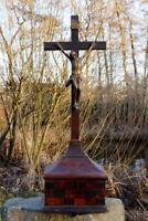 antikes Standkreuz Kreuz Kruzifix Massivholz Jesus Christus Metall selten