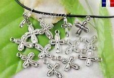 Breloque charme croix pendentif création bijoux  mariage communion 20x14mm 10pcs