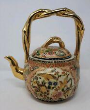 Vintage Decorative Chinese TEA POT POTTERY birds flowers