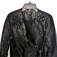 Topshop Moto Jacket Size Small Size 4 Vegan Faux Leather Biker Black UK 8 EUR 36