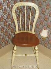 Ethan Allen Stenciled Chair White & Maple Hand Decorated Farmhouse Side 14 6301
