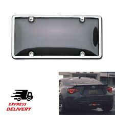 Auto Car Clear Tinted License Plate Cover Smoked Bubble Shield Tag Chrome Frame