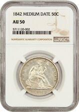 1842 50c NGC AU50 (Medium Date) Liberty Seated Half Dollar