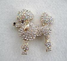 Dazzling Clear & Aurora Crystal Poodle Dog Brooch