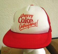 COCA-COLA trucker hat Outrageous soda pop cap Cherry Coke soft-drink 1985 snapbk