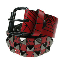 """38mm Step Pyramid Studded 100% Real Leather Belt Made In England Sizes 28""""-44"""""""