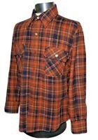 Vintage 70s 80s JC Penney The Mens Shop 100% Wool Plaid Long Sleeve Shirt Sz L