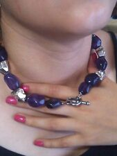 Rocks like Silver beads & Lavander Amethyist Crystals NECKLACE w/Toggle Clasp