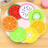 7pcs Silicone Fruit Coaster Silicone Tea Cup Drink Holder Mat Placemat Pad New
