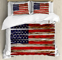 Primitive Country Duvet Cover Set with Pillow Shams Rustic Flag Print