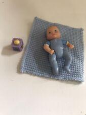 Fisher Price Loving Family Dollhouse Blue Baby Boy Blonde Doll Nursery figure