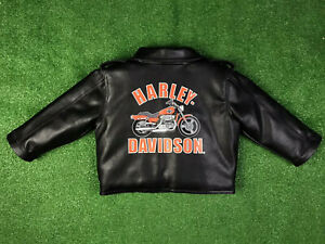 Harley Davidson Toddler Faux Black Leather Jacket 2T