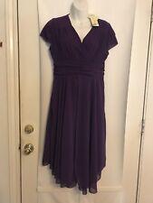 NEW Liang Liang Sz XL Purple Flowing Hem Cap Sleeves Faux Wrap Dress NWT