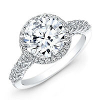 1.52 Carat Round Cut Diamond Engagement Rings 14K Solid White Gold Women's Bands