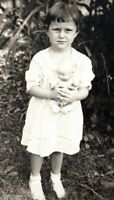 1920s Pretty Young Girl Holding Antique Doll Nelle May Snapshot Vintage Photo