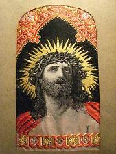 RELIQUAIRE anc. SOIE LYONNAISE LA PASSION de JESUS cadre doré à la feuille