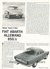 1961 Fiat Abarth Allemano 850S Original Car Review Report Print Article J812