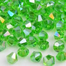 Fashion 100pcs green ab glass Crystal 4mm #5301 Bicone Beads LOOSE BEADS ;