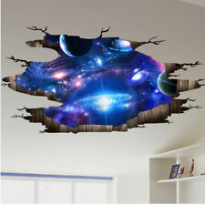 Hot Earth Space Moon Planet Boys Bedroom Smashed Wall 3D Art Wall Sticker Mural