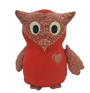 1970s Vintage Stuffed Owl Toy Red Floral Hand Made