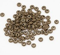 100pcs Antique Bronze Tone Zinc Alloy Wheel Gear Spacer Beads for Craft 6mm