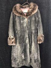 Vintage Grey Broadtail Lamb Fur Coat w/ Grey Mink Collar + Cuffs Womens 2XL