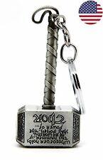 US Ship Marvel The Avengers Thor Thor's Hammer Metal Keyring Keychain Silver