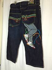 COOGI MENS COTT DENIM 3/4 JEANS 42W STRAIGHT LEG WIDE EMBROIDERED APPLIQUES NEW