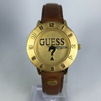 Unique Vintage Guess Unisex 90s Gold Tone Analog Wristwatch Genuine Leather