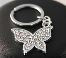 Silver Rhinestone Butterfly Key Ring/Chain w/Free Jewelry Box and Shipping