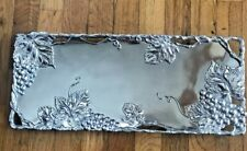 "Arthur Court Aluminum Serveware - Large Grape Rectangle Tray 19"" x 8"" 2002"