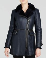 NWT BURBERRY $2795 WOMENS LAMB SHEARLING LEATHER JACKET COAT US 2 EU 36