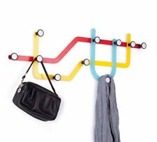 Umbra SUBWAY MULTI HOOK Wall COAT RACK with 10 Hooks - MULTI COLOUR