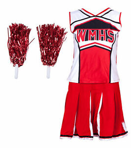 CHEERLEADER FANCY DRESS UNIFORM OUTFIT WITH POM POMS