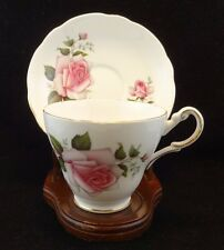 Regency Porcelain Teacup and Saucer Set White and Pink Roses made in England