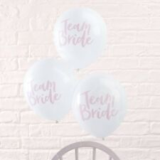 White & Pink Team Bride Printed Balloons Hen Night Party Decoration - Pack of 10