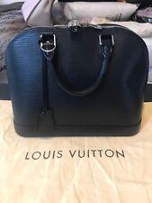 LOUIS VUITTON Black Epi Alma PM Handbag Satchel Silver Hardware