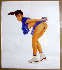 "Raymond Lobato Naughty Ladies Ice Figure Skater Blue Pin-Up Girls Print 19x22"""