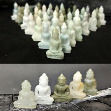 1 Genuine Burmese Jade Buddha Miniature Gemstone Carving Yoga Figurine 12 Carats
