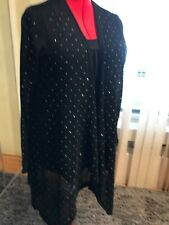 NWT VOCAL Dressy Open Cascading Front Cardigan Long Sleeve Black size XL to 2X.