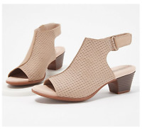 Clarks Collection Valarie James Leather Heeled Sandals, Sand, US Size 8.5 M, NWB