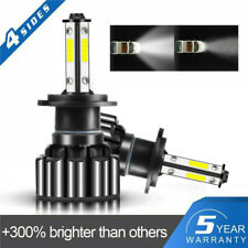 Pair 4-sides H7 CREE LED Headlight Kit 2400W 6000K 360000LM Replacement HID Bulb