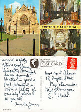 1990's MULTI VIEWS OF EXETER CATHEDRAL EXETER DEVON COLOUR POSTCARD