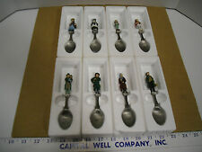 Vintage 1981 Franklin Mint Painted Pewter Dickens Characters 8 Piece Spoon Set