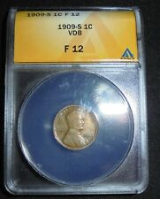 1909 S VDB Lincoln Cent Wheat Penny 1c~ TOUGH Key Date ~ F12 ~ EXCELLENT!