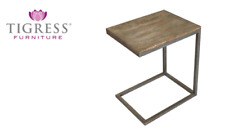 """Manhattan"" Solid Hardwood Timber & Metal ""C"" Lamp Side Table Natural Distress"