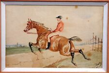 Jonny AUDY (1844-1882) Aquarelle Originale Cavalier Jockey Cheval Watercolour