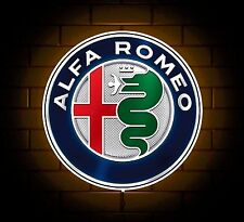 ALFA ROMEO BADGE SIGN LED LIGHT BOX MAN CAVE GARAGE WORKSHOP GAMES ROOM GIFT