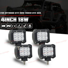 "4x 4"" 18W CREE Led Work Light Bar SPOT Cube Pods Offroad Reverse Fog Backup 3/5"""